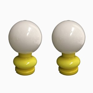 Yellow Glass Lamps from Gcme, 1980s, Set of 2