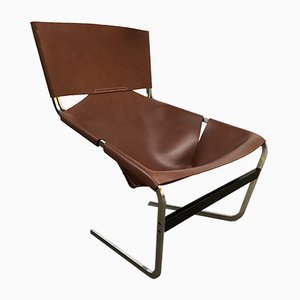 Model F444 Cognac Leather Armchair by Pierre Paulin for Artifort, 1960s