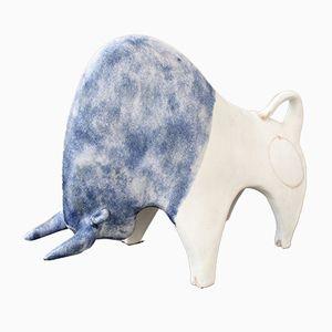 Stier-Skulptur aus Keramik mit blauer Glasur von Bruno Gambone, 1980er