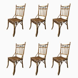 Vintage Wicker & Metal Chairs, Set of 6