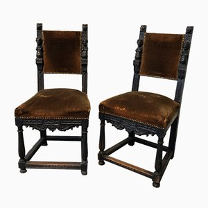 Sculptural Ash & Velour Chairs, 1910s, Set of 2