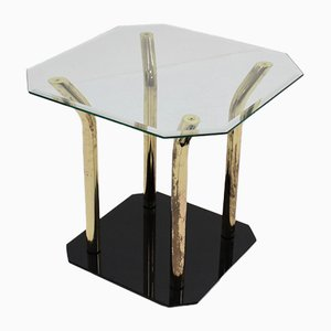 Italian Cut Glass & Brass Side Table, 1970s
