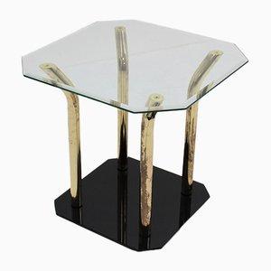 Tavolino in vetro tagliato e ottone, Italia, anni '70