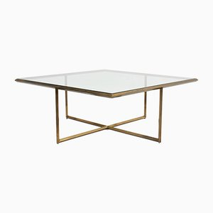 Italian Geometric Brass Coffee Table, 1970s