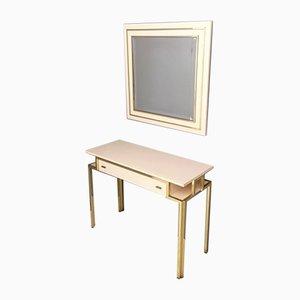 Consolle vintage in formica rosa pallido e ottone con specchio a muro