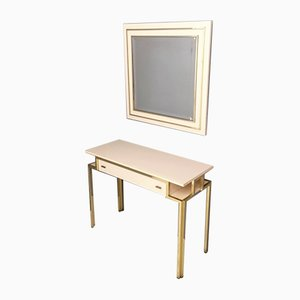 Vintage Italian Pale Pink Formica & Brass Console with Wall Mirror