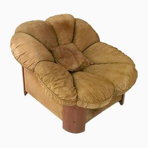 Italienische Sessel aus Nussholz & braunem Wildleder mit Messingdetails, 1980er, 2er Set