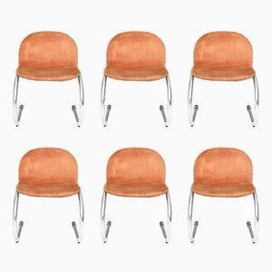 Italian Orange Skai Chairs with Metal Tubular Frame, 1970s, Set of 6