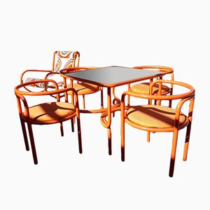 Tavolo da giardino Locus Solus con chaise longue e quattro sedie di Gae Aulenti per Poltronova, 1964