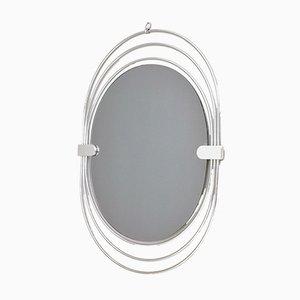 Espejo italiano oval de cristal ahumado con marco de metal cromado, años 70