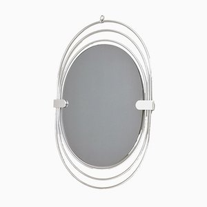 Oval Italian Smoked Wall Mirror with a Triple Chrome-Plated Metal Frame, 1970s