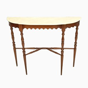 Italian Walnut Console Table with Demilune Portuguese Pink Marble Top, 1950s