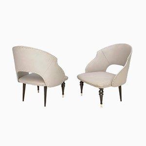 Italienische Mid-Century Sessel aus ebonisiertem Holz & grauem Skai, 1950er, 2er Set