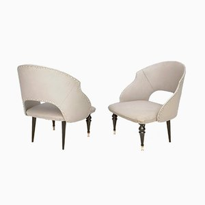 Mid-Century Italian Ebonized Wood & Gray Skai Lounge Chairs, 1950s, Set of 2