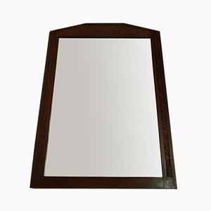 Large Art Deco Carved Oak Trumeau Mirror