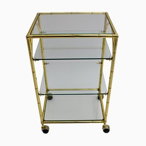 French Gilded Faux Bamboo Bar Cart, 1960s