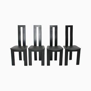 Chaises de Salon Noires par Pietro Costantini, 1970s, Set de 4