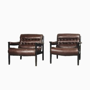 Swedish Leather Armchairs from Dux, 1970s, Set of 2