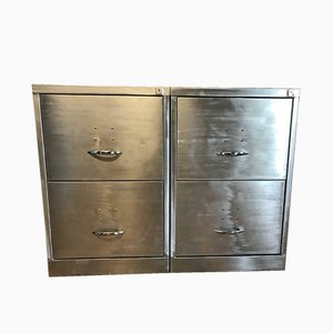 Industrial Metal Filing Cabinets, 1980s, Set of 2