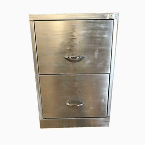 Industrial Stripped Metal 2 Drawer Filing Cabinet, 1980s