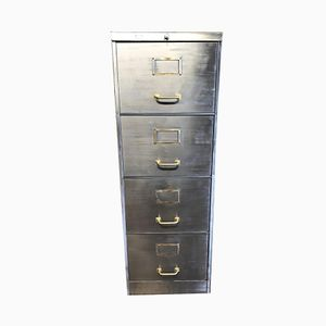 Vintage Industrial Stripped Metal 4 Drawer Filing Cabinet, 1940s