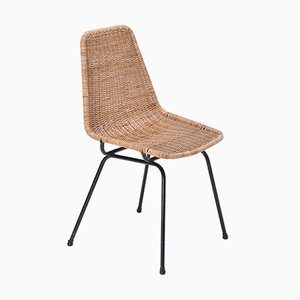 Rattan Chair with Black Lacquered Metal Base by Dirk van Sliedregt for Rohé Noordwolde, 1960s