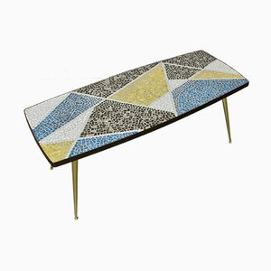 Mid-Century German Mosaic & Brass Coffee Table by Berthold Muller