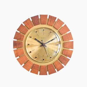 Brass Sunburst Wall Clock from Weimar, 1960s