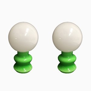 Green Glass Lamps, 1980s, Set of 2