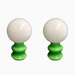 Grüne Glaslampen, 1980er, 2er Set