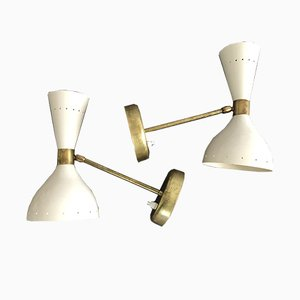 VIntage Brass & Metal Sconces, 1950s, Set of 2