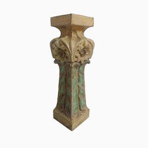 Art Nouveau Ceramic Sandstone Bolster Column