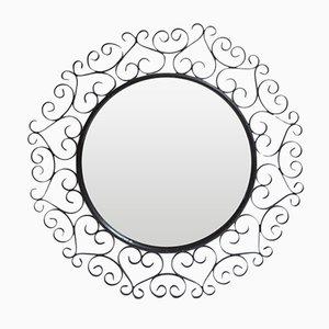 Espejo de metal negro de Chaty Vallauris, años 50