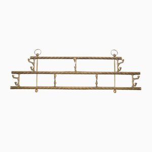 Vintage Brass Wall Coat Rack