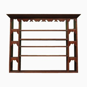 Antique Oak Wall Shelving Rack