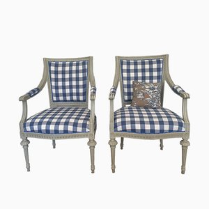 Antique Gustavian Lindome Lounge Chairs, Set of 2