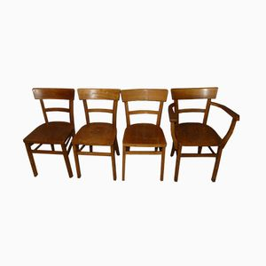 Wooden Kitchen Chairs, 1950s, Set of 4