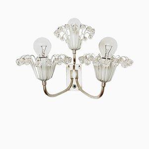 Lampada da parete floreale placcata in argento di Emil Stejnar per Rupert Nikoll, anni '50