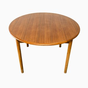 Round Danish Teak Dining Table with Extensions, 1960s