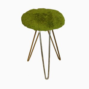 Brass Stool with Hairpin Legs & Fluffy Green Upholstery, 1950s