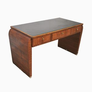 Mid-Century Rationalist Desk with Brass Finishes, 1930s