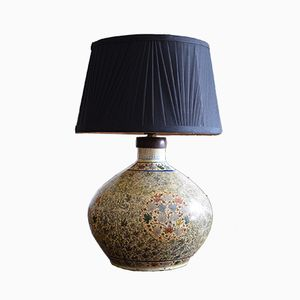 Antique Hand-Painted Papier Mache Kashmiri Table Lamp, 1910s