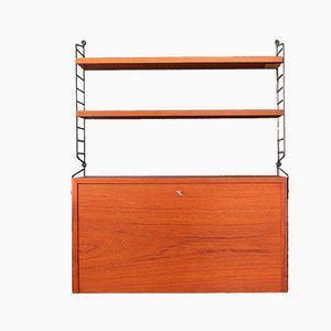 Mid-Century Teak Wall Shelving System by Nisse Strinning for String, 1960s