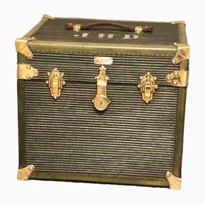 French Green Canvas Cube Shaped Hat Trunk, 1930s