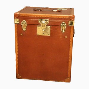 French Tall Brown Canvas Hat Trunk, 1930s