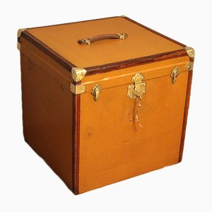 Large French Light Brown Canvas Cube-Shaped Hat Trunk, 1930s