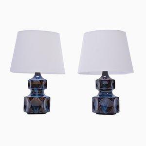 Lámparas de mesa modelo 1062 vintage azules de Søholm, años 70. Juego de 2