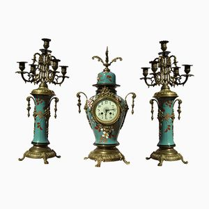 Antique Set with Mantel Clock and Two Candlesticks