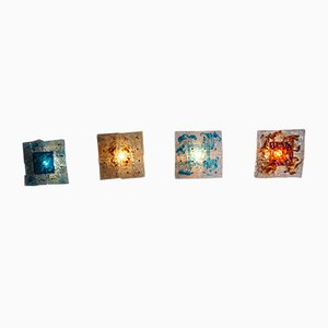 Apliques de retazos de cristal de Murano de Toni Zuccheri para Venini, 1972. Juego de 4