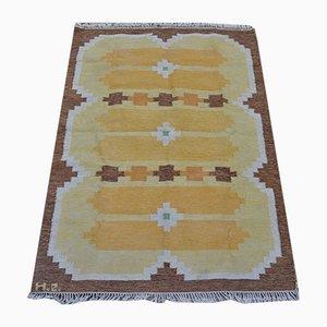 Schwedischer Röllakan Teppich aus brauner & orangefarbener Wolle, 1950er